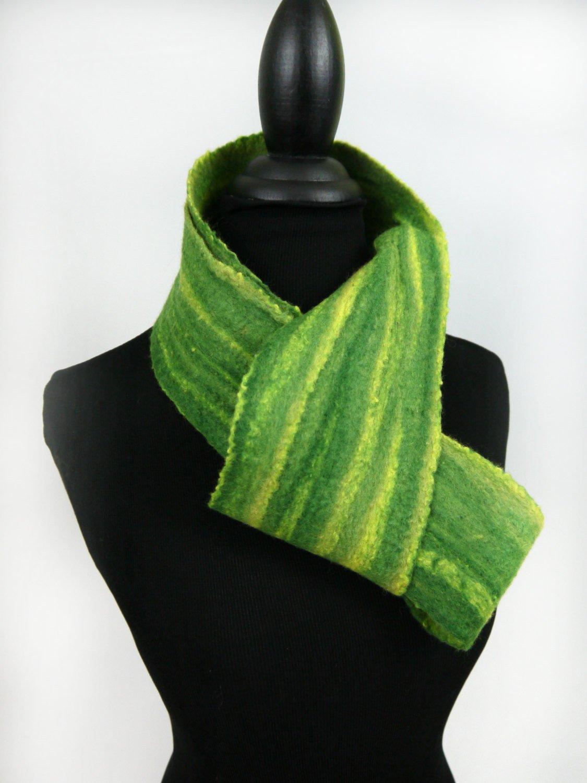 Striped Green Infinity Merino Wool Scarf - Sara Setzer Feltworks