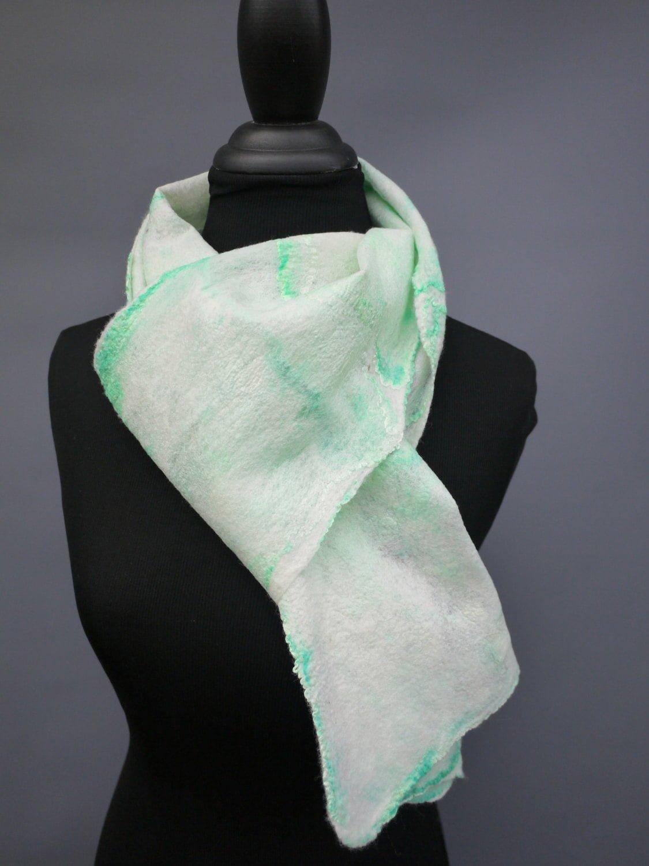 1d94ffb14 Silk Felted Scarf - Green Winter Scarf | Sara Setzer Feltworks
